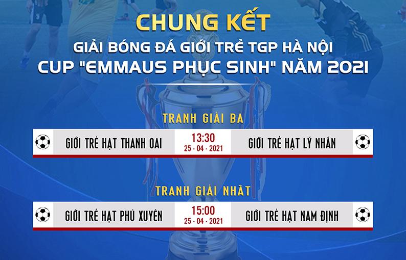 Lịch thi đấu Chung kết và tranh giải ba Giải bóng đá Giới trẻ TGP Hà Nội cup